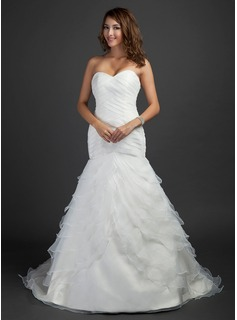 Trumpet/Mermaid Sweetheart Court Train Satin Organza Wedding Dress With Cascading Ruffles