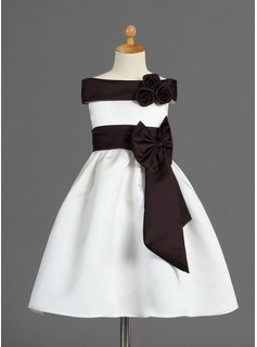 A-Line/Princess Off-the-Shoulder Tea-Length Satin Flower Girl Dress With Sash Flower(s)