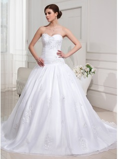 Ball-Gown Sweetheart Chapel Train Organza Satin Wedding Dress With Ruffle Lace Beadwork Sequins