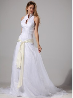 A-Line/Princess Halter Court Train Organza Satin Wedding Dress With Sash