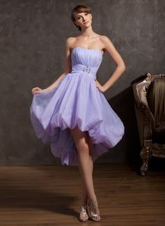 A-Line/Princess Sweetheart Asymmetrical Organza Homecoming Dress With Ruffle Beading
