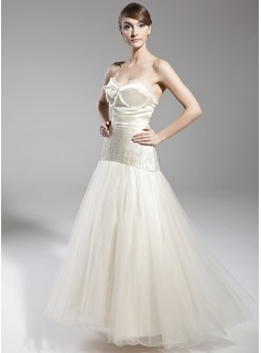 A-Line/Princess Sweetheart Floor-Length Satin Tulle Holiday Dress With Beading
