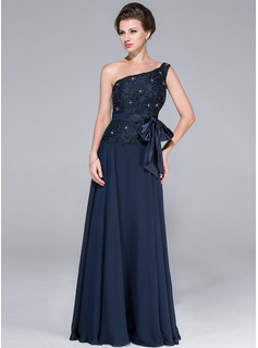 A-Line/Princess One-Shoulder Floor-Length Chiffon Charmeuse Lace Mother of the Bride Dress With Beading Bow(s)