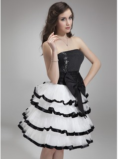 A-Line/Princess Strapless Knee-Length Organza Charmeuse Sequined Homecoming Dress With Bow(s) Cascading Ruffles