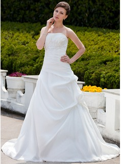 Ball-Gown Strapless Chapel Train Taffeta Wedding Dress With Ruffle Beading Appliques Lace