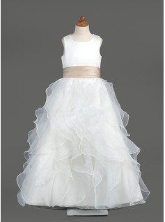A-Line/Princess Scoop Neck Floor-Length Organza Satin Flower Girl Dress With Sash Cascading Ruffles
