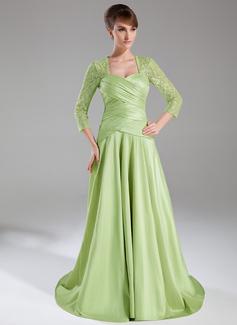 Linia A/Księżniczka Kochanie Tren Dotykający ziemi Taffeta Lace Suknia dla Mamy Panny Młodej Z Żabot