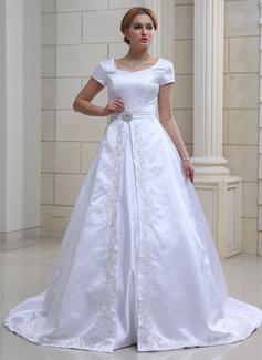 Corte de baile Escote en V Cola capilla Satén Vestido de novia con Bordado Alfiler Flor Cristal