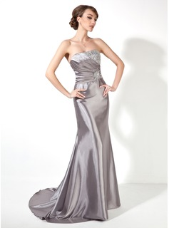 Mermaid Strapless Sweep Train Charmeuse Prom Dress With Ruffle Beading Sequins