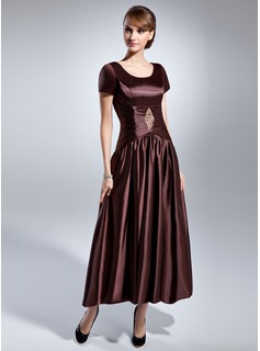 A-Line/Princess Scoop Neck Ankle-Length Charmeuse Mother of the Bride Dress With Ruffle Beading