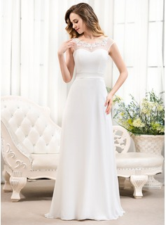 A-Line/Princess Scoop Neck Sweep Train Chiffon Tulle Charmeuse Wedding Dress With Beading Appliques Lace Sequins Bow(s)