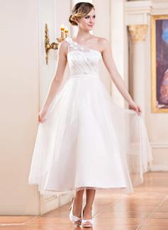 Corte A/Princesa Un sólo hombro Hasta la tibia Satén Tul Vestido de novia con Volantes Bordado Flores Lentejuelas