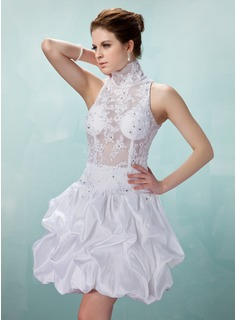 A-Line/Princess High Neck Short/Mini Taffeta Tulle Cocktail Dress With Ruffle Beading Appliques Lace