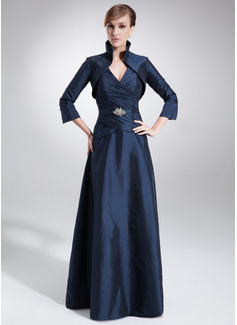 A-Line/Princess V-neck Floor-Length Taffeta Mother of the Bride Dress With Ruffle Beading