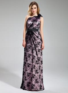 Wąska Jednoramienna Do Podłogi Charmeuse Lace Suknia dla Druhny Z Naszywki