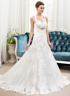 A-linjeformat Hjärtformad Court släp Tyll Spetsar Bröllopsklänning med Pärlbrodering Paljetter