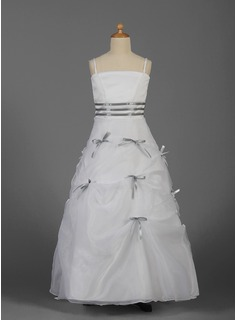 A-Line/Princess Floor-length Flower Girl Dress - Organza/Satin Sleeveless With Sash/Bow(s)