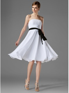 A-Line/Princess Strapless Knee-Length Chiffon Bridesmaid Dress With Ruffle Sash
