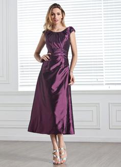 A-Line/Princess Scoop Neck Tea-Length Taffeta Bridesmaid Dress With Ruffle Beading Sequins