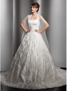 Ball-Gown Chapel Train Satin Lace Wedding Dress With Ruffle Beading