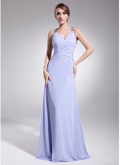 A-Linie/Princess-Linie V-Ausschnitt Bodenlang Chiffon Abendkleid mit Rüschen Perlen verziert