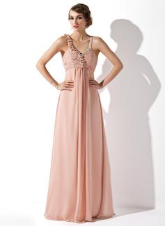 Corte A/Princesa Escote en V Vestido Chifón Vestido de noche con Volantes Bordado