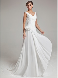 A-Line/Princess V-neck Chapel Train Chiffon Satin Wedding Dress With Ruffle Feather Flower(s) (002011459)