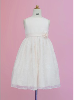 A-Line/Princess Tea-length Flower Girl Dress - Satin/Lace Sleeveless Scoop Neck With Sash/Flower(s)