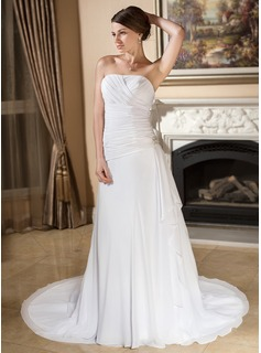 A-Line/Princess Strapless Court Train Chiffon Wedding Dress With Crystal Brooch Cascading Ruffles