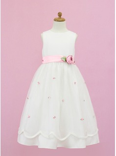 A-Line/Princess Scoop Neck Floor-Length Organza Satin Flower Girl Dress With Sash Flower(s) Bow(s)