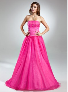 Ball-Gown Strapless Floor-Length Organza Prom Dress With Beading