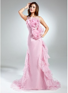 A-Line/Princess Strapless Court Train Organza Prom Dress With Beading Cascading Ruffles