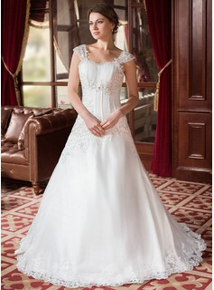 A-Line/Princess Sweetheart Court Train Satin Organza Wedding Dress With Ruffle Beading Appliques Lace