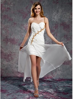 A-Line/Princess One-Shoulder Floor-Length Chiffon Satin Prom Dress With Ruffle Lace Beading