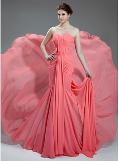 Mermaid Sweetheart Chapel Train Chiffon Prom Dress With Ruffle