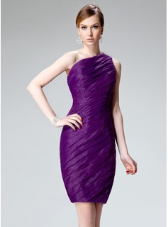 Sheath/Column One-Shoulder Knee-Length Organza Cocktail Dress With Ruffle