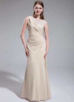 Sheath/Column Scoop Neck Floor-Length Chiffon Tulle Prom Dress With Ruffle Beading Flower(s)