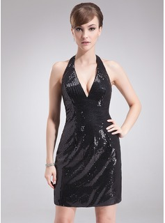 Sheath/Column Halter Short/Mini Sequined Cocktail Dress