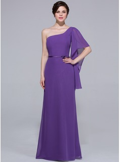 Sheath/Column One-Shoulder Floor-Length Chiffon Charmeuse Bridesmaid Dress