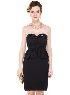 Sheath/Column Sweetheart Knee-Length Chiffon Cocktail Dress With Beading Sequins Cascading Ruffles
