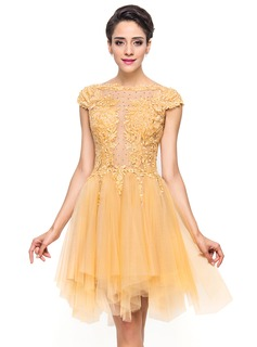 A-Line/Princess Scoop Neck Asymmetrical Tulle Homecoming Dress With Beading Appliques Lace