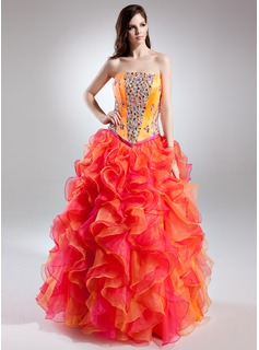 Ball-Gown Strapless Floor-Length Organza Charmeuse Prom Dress With Beading Cascading Ruffles
