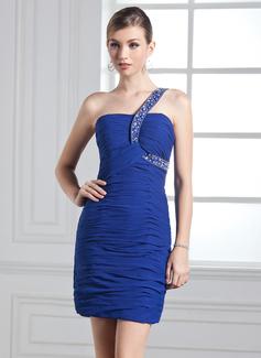 Etui-Linie One-Shoulder-Träger Kurz/Mini Chiffon Festliche Kleid mit Rüschen Perlen verziert