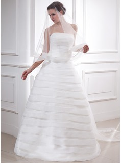 Ball-Gown Strapless Floor-Length Organza Satin Wedding Dress