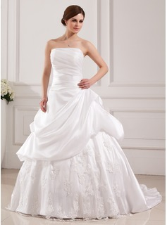 Ball-Gown Strapless Sweep Train Taffeta Tulle Wedding Dress With Lace