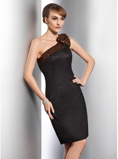 Sheath/Column One-Shoulder Knee-Length Satin Cocktail Dress With Beading Bow(s)