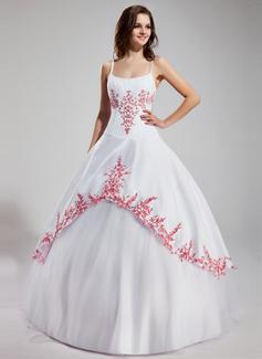 Balo Elbisesi Yuvarlak Yaka Uzun Etekli Satin Tulle Quinceanera (15 Yaş) Elbisesi Ile Nakışlı Büzgü Boncuklama