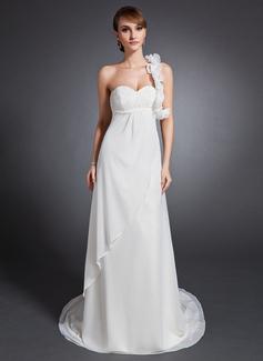 Väldet One-Shoulder Court släp Chiffong Bröllopsklänning med Rufsar Pärlbrodering Blomma (or)