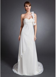Empire One-Shoulder Court Train Chiffon Wedding Dress With Ruffle Beading Flower(s)