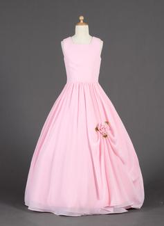 A-Line/Princess Scoop Neck Floor-Length Chiffon Flower Girl Dress With Ruffle Flower(s)